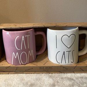 Set of two Rae Dunn cat mugs NEW